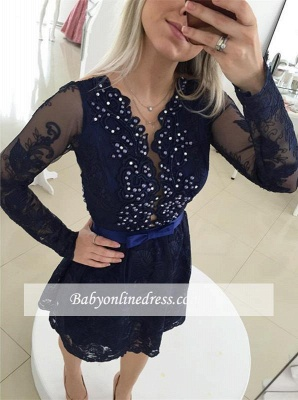 Bow Newest Beads Long-Sleeve Lace Zipper Mini Homecoming Dress UK_1