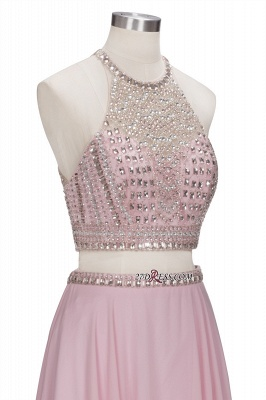 Pink Crystals Floor-length A-line Two-piece Delicate Evening Dress UK_2