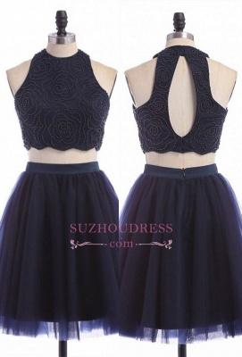 Sleeveless Mini Elegant Two-Piece Zipper Jewel Homecoming Dress UK_1