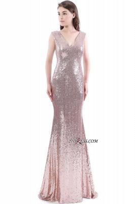 Mermaid V-Neck Simple Sequins Long Evening Dress UKes UK_6