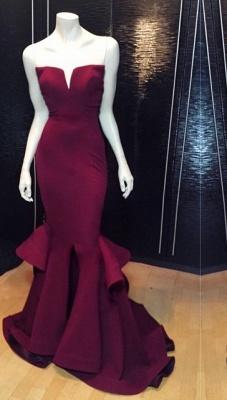 Elegant V-neck Sleeveless Mermaid Prom Dress UK With Ruffles_1