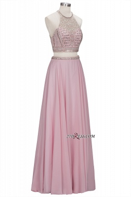 Pink Crystals Floor-length A-line Two-piece Delicate Evening Dress UK_5