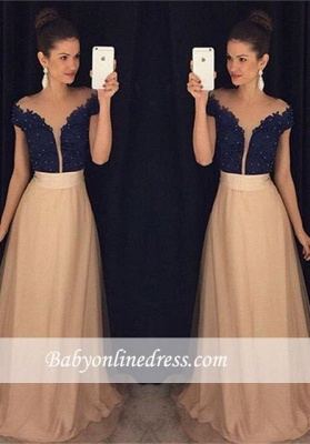 Gorgeous Cap-Sleeves Beaded Lace Tulle A-Line Prom Dress UKes UK AP0_1