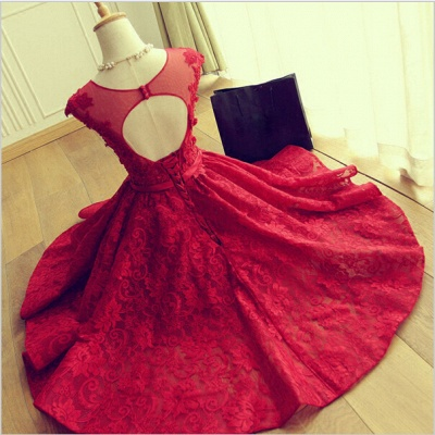 Delicate Red Lace Appliques Homecoming Dress UK Mini Cap Sleeve_3