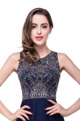 Modern Chiffon A-line Prom Dress UK Beadings Illusion Zipper_4