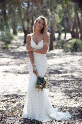 Spaghetti Strap Lace Wedding Dress Sexy Mermaid Open Back Sweep Train_1