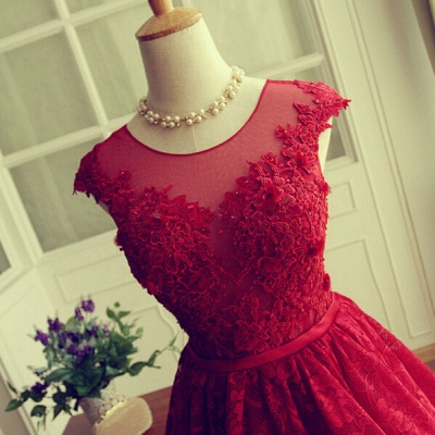 Delicate Red Lace Appliques Homecoming Dress UK Mini Cap Sleeve_5