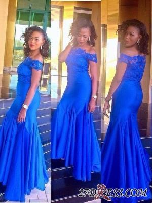 Royal Blue Mermaid Newest Off-the-Shoulder Lace Prom Dress UK_2
