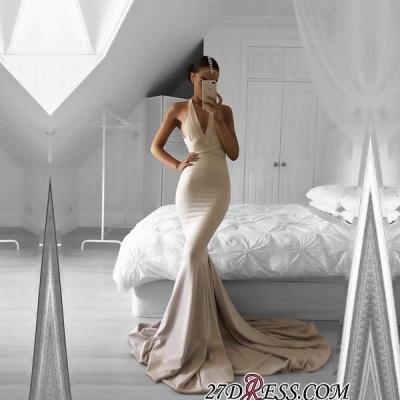 Halter Mermaid Long Elegant V-neck Sleeveless Prom Dress UK SP0309_1