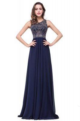 Modern Chiffon A-line Prom Dress UK Beadings Illusion Zipper_1