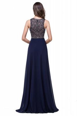 Modern Chiffon A-line Prom Dress UK Beadings Illusion Zipper_6