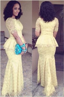 Modern Lace Mermaid Yellow Prom Dress UK Short Sleeve_1