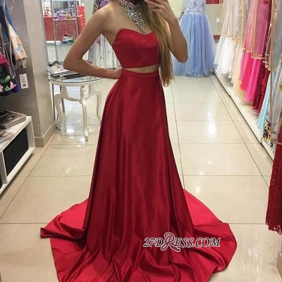 A-line Simple Sleeveless Long Red Two-Piece Prom Dress UKes UK_1