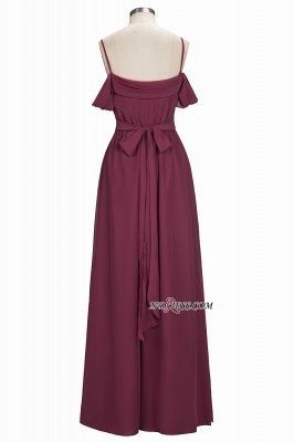Off-the-Shoulder Chiffon Bridesmaid Dress UK | Long Wedding Party Dress UK_3