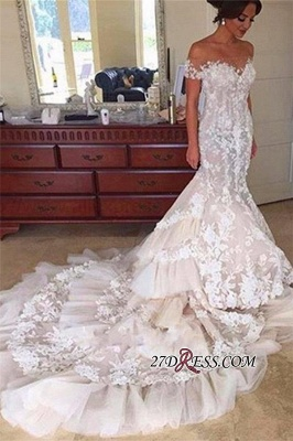 Tiered Sexy Mermaid Elegant Off-the-Shoulder Appliques Buttons Tulle Wedding Dress qq0226_3
