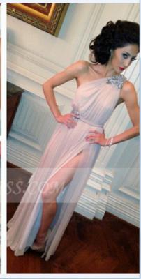 Sleeveless One Shoulder Side Slit Evening Dress UKes UK Crystal Sash Floor Length Prom Dress UKes UK_1