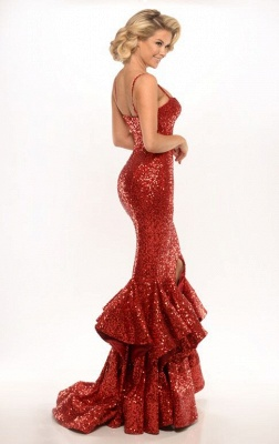 Elegant Mermaid Sequins Evening Dress UK Spaghetti Straps Party Gown_5