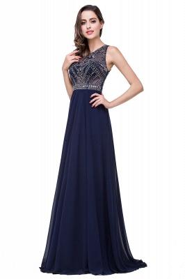 Modern Chiffon A-line Prom Dress UK Beadings Illusion Zipper_5