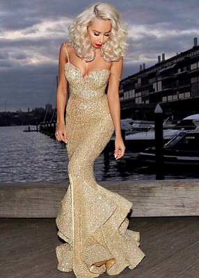 Elegant Mermaid Sequins Evening Dress UK Spaghetti Straps Party Gown_1