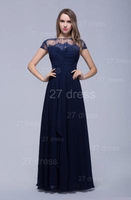 Modern Illusion Cap Sleeve Evening Dress UK Chiffon Lace Bowknot_1