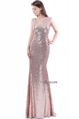 Mermaid V-Neck Simple Sequins Long Evening Dress UKes UK_2