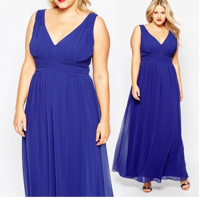 Modern V-neck Sleeveless Chiffon Plus Size Prom Dress UK_2