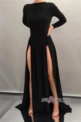 Black Sheath High-neck Front-splits Sleeves Long Elegant Evening Dress UKes UK BA4319_1
