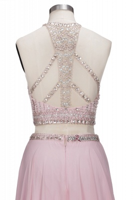 Pink Crystals Floor-length A-line Two-piece Delicate Evening Dress UK_3