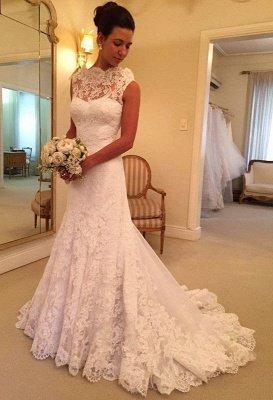 Pretty lace Sleeveless Sexy Mermaid Wedding Dress Sweep Floor On Sale_1