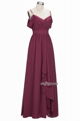 Off-the-Shoulder Chiffon Bridesmaid Dress UK | Long Wedding Party Dress UK_4