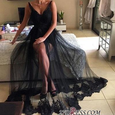 Elegant Black V-Neck Prom Dress UK   Long Tulle Evening Gowns_1