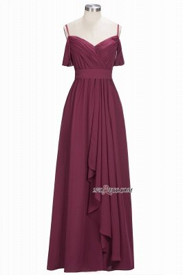 Off-the-Shoulder Chiffon Bridesmaid Dress UK | Long Wedding Party Dress UK_2
