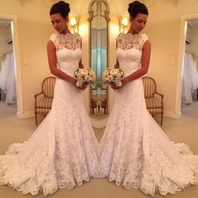 Pretty lace Sleeveless Sexy Mermaid Wedding Dress Sweep Floor On Sale_3