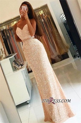 Bodycon Spaghetti-Strap Newest Sequined Long Sleeveless Prom Dress UK BA3978_2