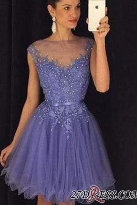A-Line Beadings Cap-Sleeves Tulle Short Lavender Homecoming Dress UK AP0 BA3684_3