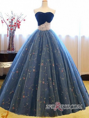 Sweetheart Embroidery Exquisite Pearls Puffy Prom Dress UKes UK Online_5