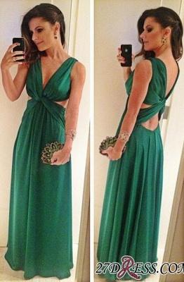 Green A-Line Sleeveless Floor-Length V-Neck Elegant Prom Dress UK_2