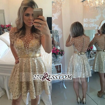A-line Gold Short-Sleeves Beadings Short Lace Homecoming Dress UK_3