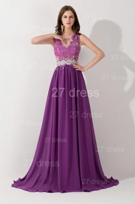 Newest Illusion Purple A-line Evening Dress UK Lace Appliques Beadings_1