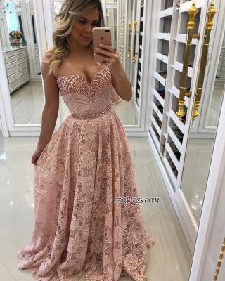 Pink pearls prom Dress UK, long alce evening Dress UK_4