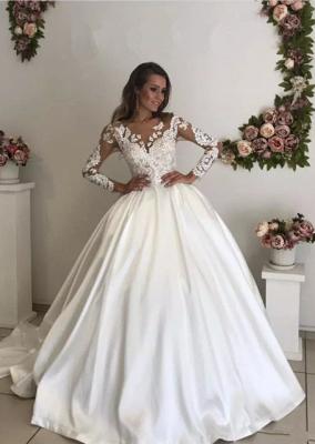 Chic Long Sleeve Lace Appliques Wedding Dress Ball Gown Zipper Button Back_1