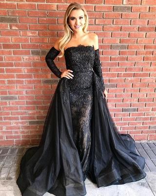 Elegant Black Lace Long Sleeve Evening Dress UK Long Sleeve Tulle Party Dress UK_4