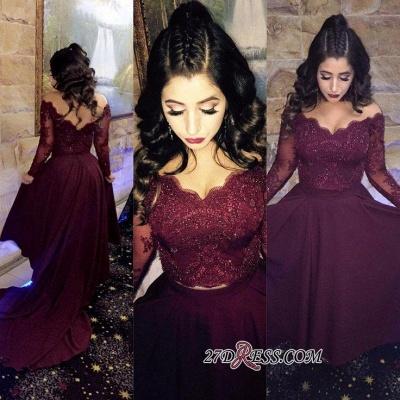 Hi-lo Lace-Appliques Newest A-line Long-Sleeve Beads Prom Dress UK SP0308_1
