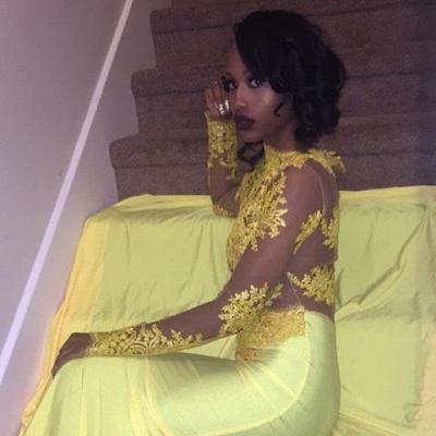 Appliques Long-Sleeve Yellow Lace High-Neck Beautiful Mermaid Prom Dress UK BK0_2