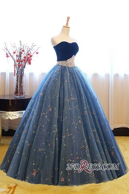 Sweetheart Embroidery Exquisite Pearls Puffy Prom Dress UKes UK Online_1