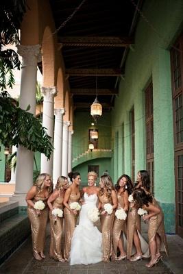 Gorgeous Mermaid Side Split Bridesmaid Dress UK Sleeveless Sequins_3
