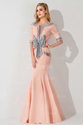 Modern Half Sleeve Mermaid Evening Dress UK Zipper Sweep Train_3