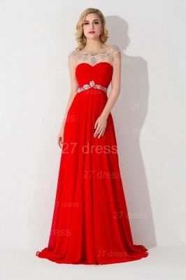 Sexy Chiffon Red Crystals Evening Dress UK A-line Illusion_1