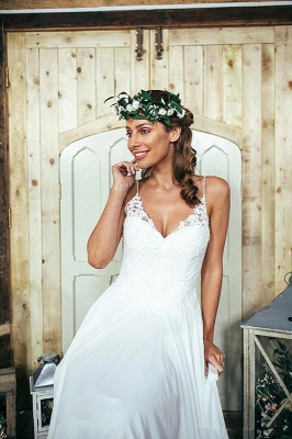 Summer Beach Spaghetti Straps Lace Wedding Dress Long_1