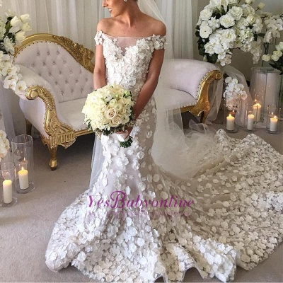Long Appliques Sexy Mermaid Bridal Gowns | Off-the-Shoulder Wedding Dress_3
